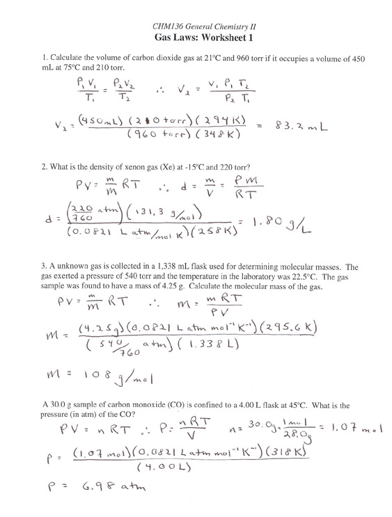 Ideal Gas Law And Stoichiometry Worksheet Answers With Work ...