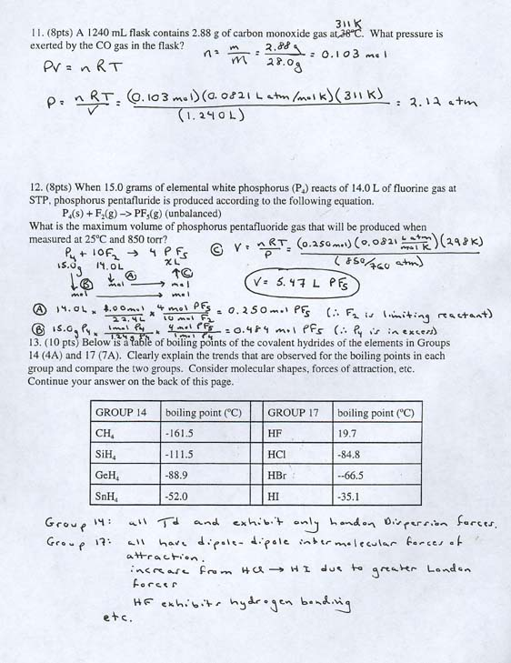 General Chemistry. Spring 2000 Exam 1 Answer Key Page 3. Worksheet. G C0 9 Worksheet 1 Answer Key At Clickcart.co